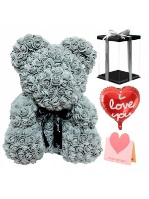 Grise Ours rose Ours fleur pour Fête des mères, La Saint-Valentin, Anniversaire, Mariages et anniversaires