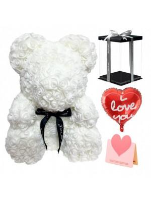 Blanc Ours rose Ours fleur pour Fête des mères, La Saint-Valentin, Anniversaire, Mariages et anniversaires
