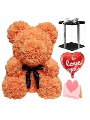 Orange Ours rose Ours fleur pour Fête des mères, La Saint-Valentin, Anniversaire, Mariages et anniversaires