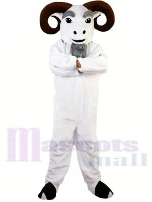 blanc Drôle Ram Costume de mascotte Taille adulte Halloween
