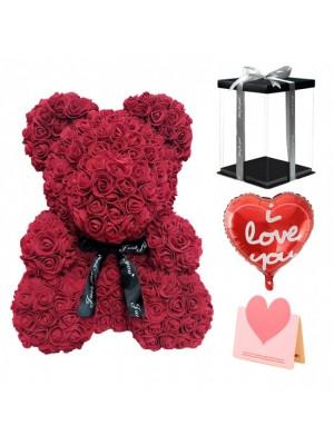 Bourgogne Ours rose Ours fleur pour Fête des mères, La Saint-Valentin, Anniversaire, Mariages et anniversaires