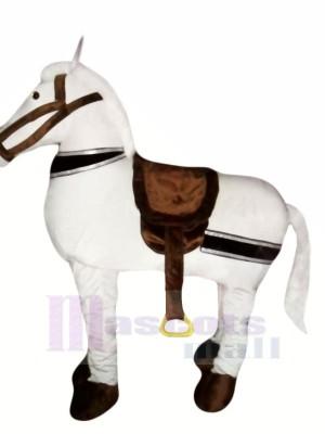 Mignonne blanc Nouveau 2 La personne Cheval Mascotte Costume