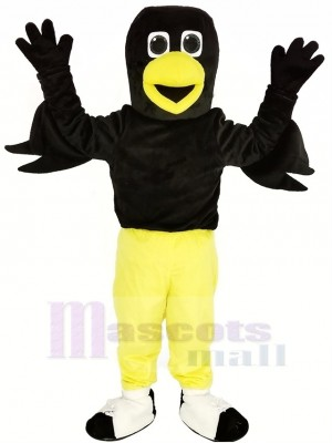 Noir Oiseau Corbeau avec Jaune Un pantalon Mascotte Costume Animal
