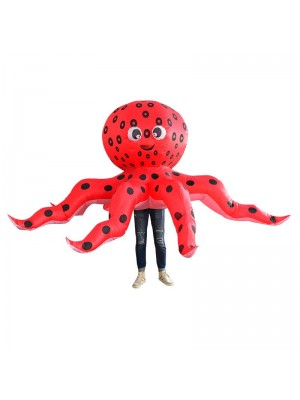 rouge Poulpe Calamar Gonflable Costume Halloween Noël Costume pour Adulte