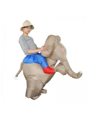 l'éléphant Porter moi Balade sur Gonflable Halloween Noël Costume pour Adulte Lumière marron Couleur