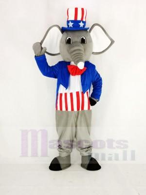 Réaliste Patriotique l'éléphant Mascotte Costume Dessin animé