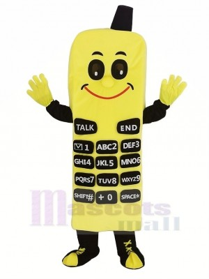 Jaune Téléphone Mascotte Costume Dessin animé