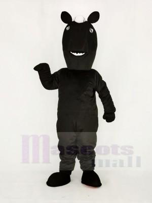 Réaliste Noir Mustang Cheval Mascotte Costume École