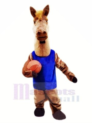 Basketball Cheval avec Bleu Gilet Mascotte Les costumes Animal