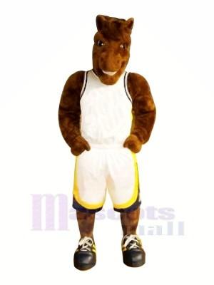 marron Basketball Cheval Mascotte Les costumes Animal