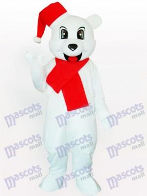 Ours blanc avec costume de mascotte adulte Santa Hat