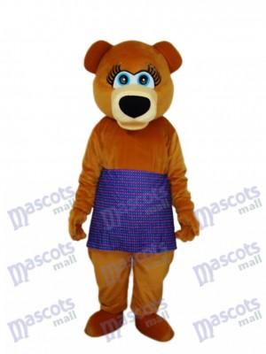Ours brun en mascotte jupe mauve Costume adulte Animal