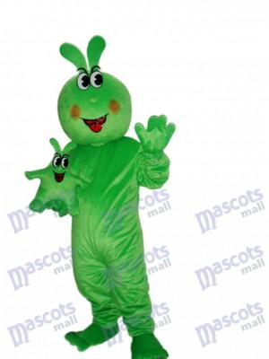 Insecte de costume de mascotte de ver vert heureux insecte