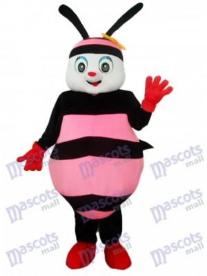 Costume de mascotte abeille noire et rose adulte insecte