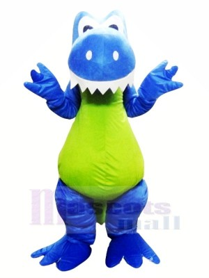 Souriant Bleu Dragon Mascotte Les costumes Animal