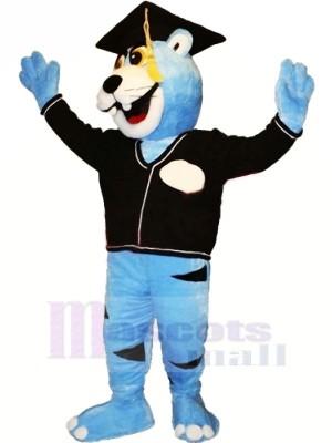 Bleu Érudit Panthère Mascotte Les costumes Animal