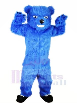 Bleu Velu Ours Mascotte Les costumes Animal