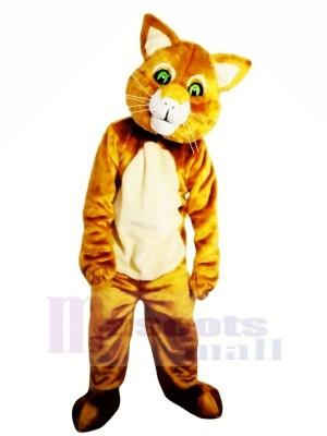 marron Chat avec vert Les yeux Mascotte Les costumes Animal