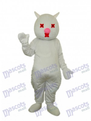 Mascotte chat blanc Costume adulte Animal