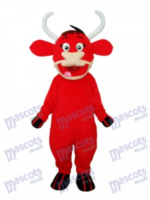 Costume adulte de mascotte de vache rouge Animal