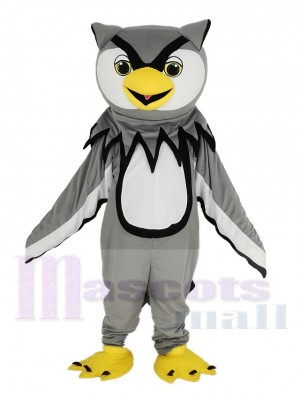 gris Hibou avec Jaune Le bec Mascotte Costume Oiseau