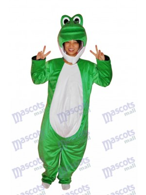 Super mignon spectacle visage vert dinosaure adulte costume de mascotte animal