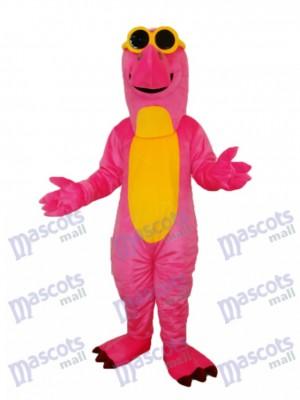 Dinosaure rose avec des lunettes mascotte Costume adulte Animal