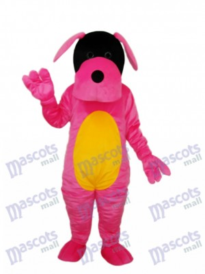 Costume adulte mascotte chien rose