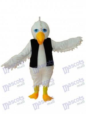 Aigle blanc en costume de mascotte gilet noir Animal