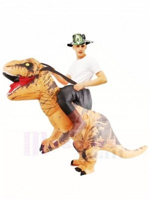 Tyrannosaure brun T-Rex Gonflable Porte moi Ride On Costume