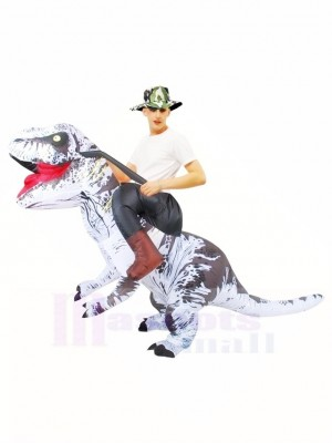 Tyrannosaure blanc T-Rex Gonflable Porte moi Ride On Costume