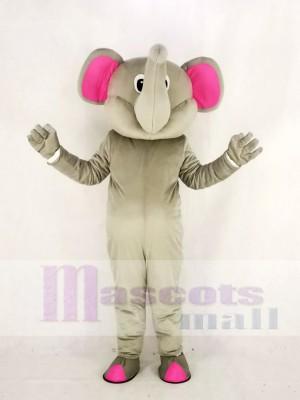 Réaliste gris l'éléphant avec Rose Oreilles Mascotte Costume Dessin animé