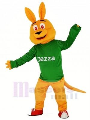 Orange Kangourou avec Longue Manche Mascotte Costume Dessin animé