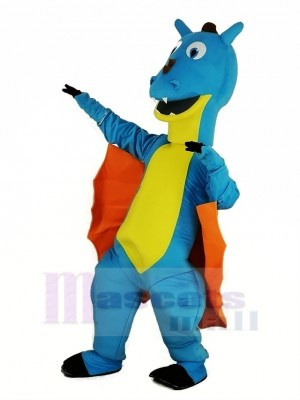 Bleu Dragon avec Orange Ailes Mascotte Costume Animal
