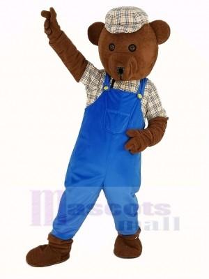 Teddy Ours dans Bleu Salopette Mascotte Costume Dessin animé