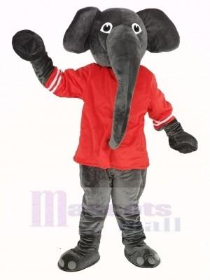 Gris l'éléphant avec rouge T-shirt Mascotte Costume