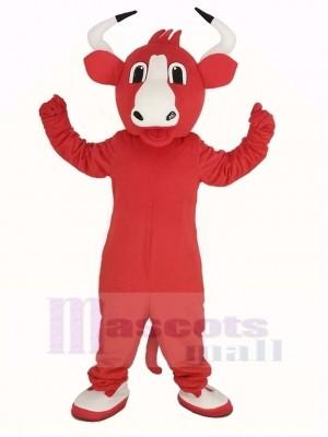 Heureux rouge Taureau Mascotte Costume