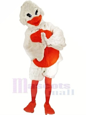 Velu blanc et Orange canard Mascotte Les costumes Dessin animé