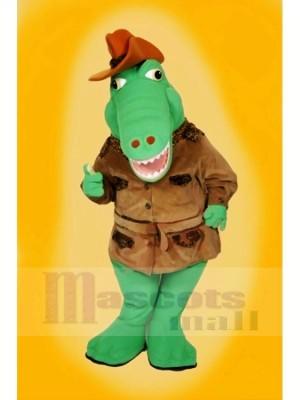 Cool Alligator avec marron Chapeau Mascotte Les costumes Dessin animé