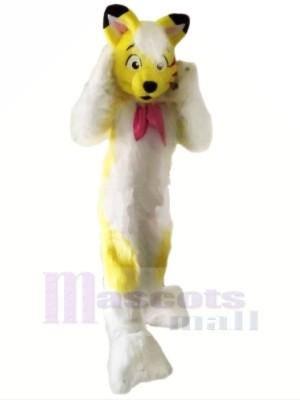 Jaune Velu Rauque Chien Mascotte Les costumes Dessin animé