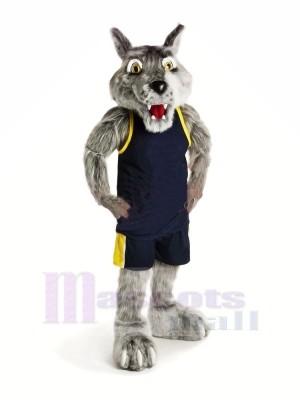 sport Loup avec Noir Gilet Mascotte Déguisements Dessin animé