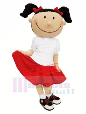 Mignonne Fille avec rouge Jupe Mascotte Costume Dessin animé