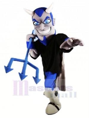 Souriant Diable avec Bleu Yeux Mascotte Costume Dessin animé