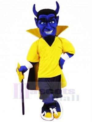 Bleu Diable dans Jaune Mascotte Costume Dessin animé