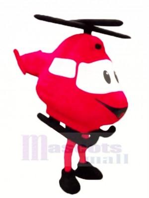 Haute Qualité rouge Hélicoptère Mascotte Costume Dessin animé