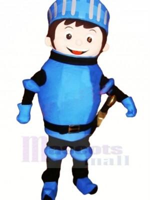 Mignonne Chevalier dans Bleu Mascotte Costume Dessin animé