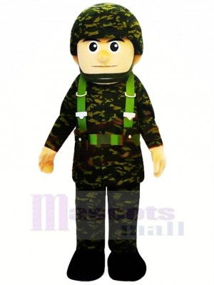 Cool Militaire Homme Mascotte Costume Gens