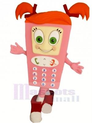Rose Cellule Téléphone Mascotte Costume Dessin animé