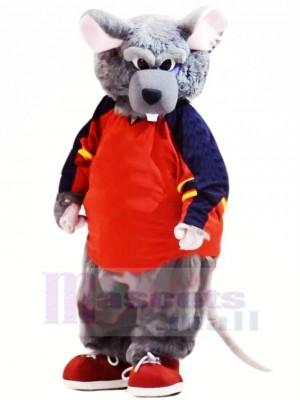 sport Gris Rat Mascotte Costume Dessin animé