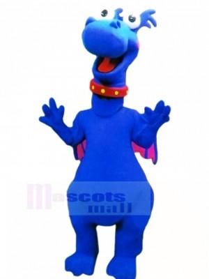 Bleu Dragon avec Rose Ailes Mascotte Costume Dessin animé